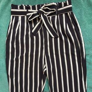 H&M Striped High-Waist Pants